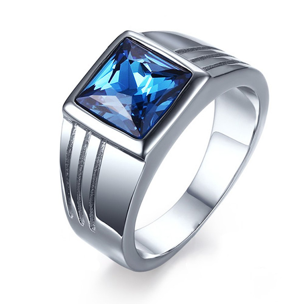 Shop Fashion Popular Jewelry Blue Diamond Stainless Steel Men's Ring