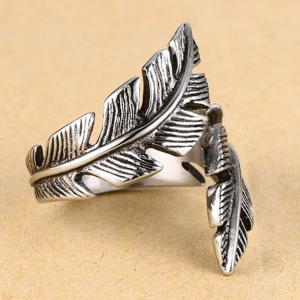 Stainless Steel Feathers Casting Ring Tide Card Personalized Jewelry -