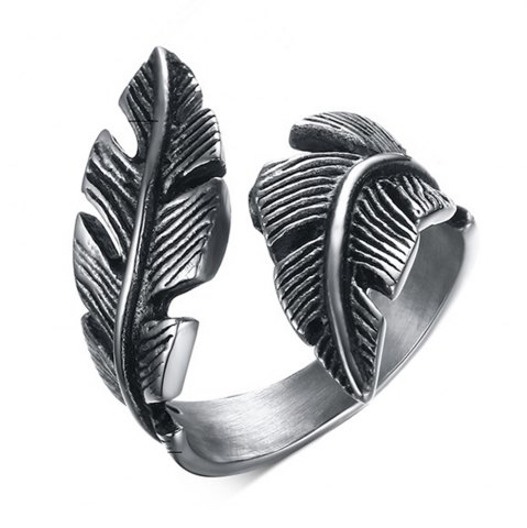 Fancy Stainless Steel Feathers Casting Ring Tide Card Personalized Jewelry