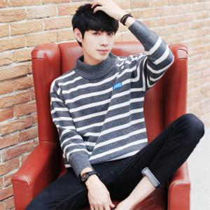 Men's Pullover Fashion Stripe Color Block Turtle Neck Casual Sweater -