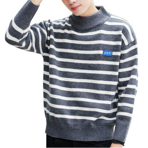 Hot Men's Pullover Fashion Stripe Color Block Turtle Neck Casual Sweater