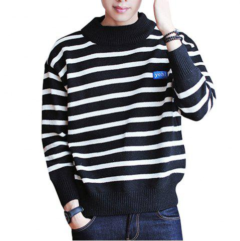 Outfits Men's Pullover Fashion Stripe Color Block Turtle Neck Casual Sweater