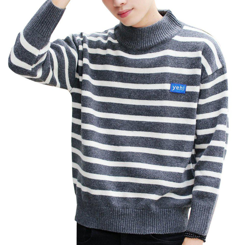 Unique Men's Pullover Fashion Stripe Color Block Turtle Neck Casual Sweater