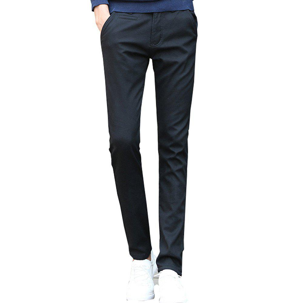 Outfit Men's Casual Pants Comfy Solid Color Chic Thickened Pants