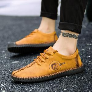 Men Fashion Casual Genuine Leather Lace Up Male Flats Peas Shoes -