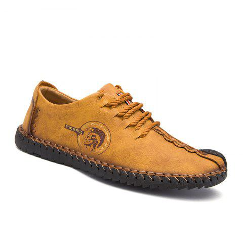 Online Men Fashion Casual Genuine Leather Lace Up Male Flats Peas Shoes