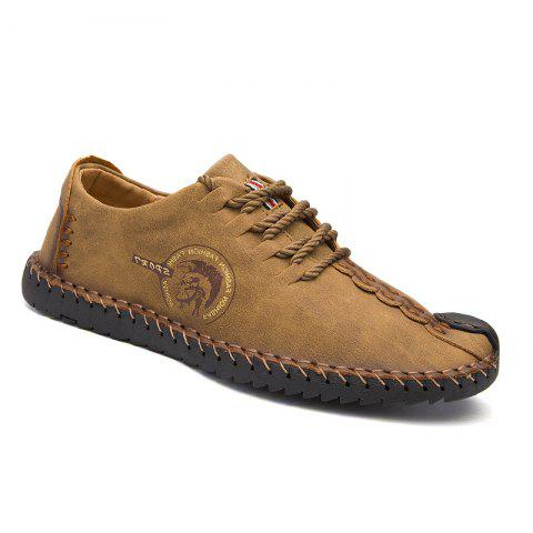 Trendy Men Fashion Casual Genuine Leather Lace Up Male Flats Peas Shoes
