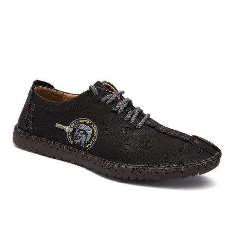 Store Men Fashion Casual Genuine Leather Lace Up Male Flats Peas Shoes
