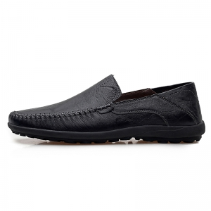 Men Loafers Casual Genuine Leather Slip on Fashion Peas Flat Shoes -