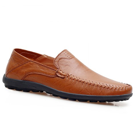 Fancy Men Loafers Casual Genuine Leather Slip on Fashion Peas Flat Shoes