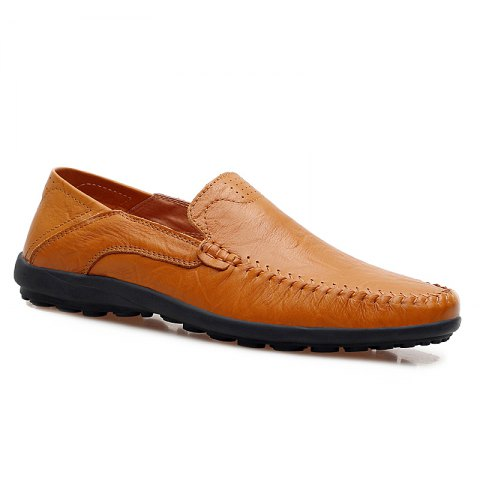 New Men Loafers Casual Genuine Leather Slip on Fashion Peas Flat Shoes