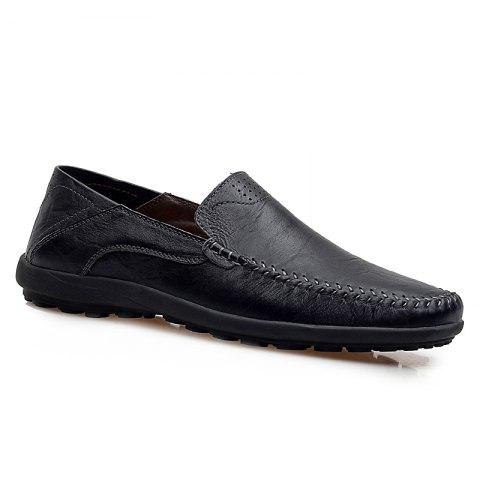 Discount Men Loafers Casual Genuine Leather Slip on Fashion Peas Flat Shoes