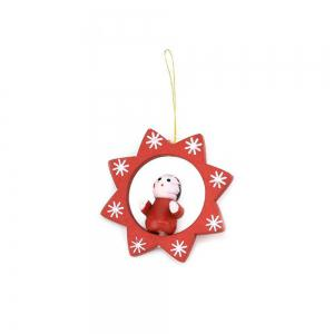 Lovely Christmas Tree Decorations Wooden Small Doll Pendant New Year Decor -