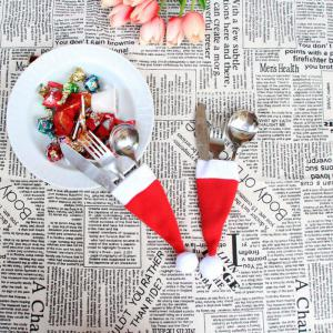 10PCS/LOT Christmas Silverware Holder Mini Xmas Tree Santa Claus Hat Xmas Decoration -