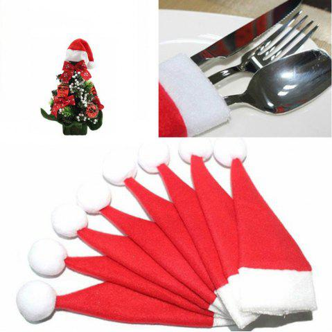 Fancy 10PCS/LOT Christmas Silverware Holder Mini Xmas Tree Santa Claus Hat Xmas Decoration