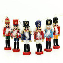 6PCS Nutcracker Puppet Creative Desktop Decoration 12CM Wood Made Christmas Ornaments Drawing Walnuts Soldiers -