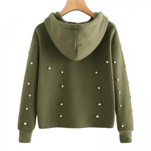 Beading Long Sleeve Thickning Hoodie -