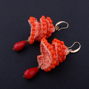Creative Handmade Crystal Spiral Beads Water Drop Shape Earrings -