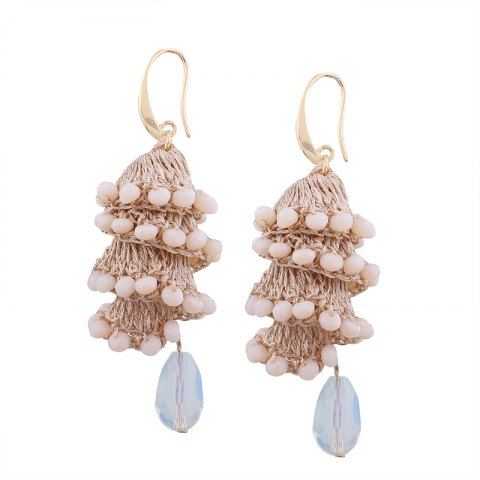 Outfits Creative Handmade Crystal Spiral Beads Water Drop Shape Earrings