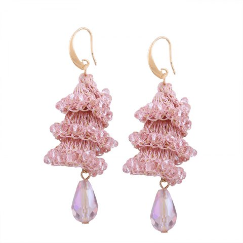 Best Creative Handmade Crystal Spiral Beads Water Drop Shape Earrings
