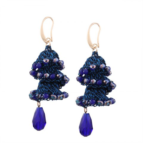 Unique Creative Handmade Crystal Spiral Beads Water Drop Shape Earrings