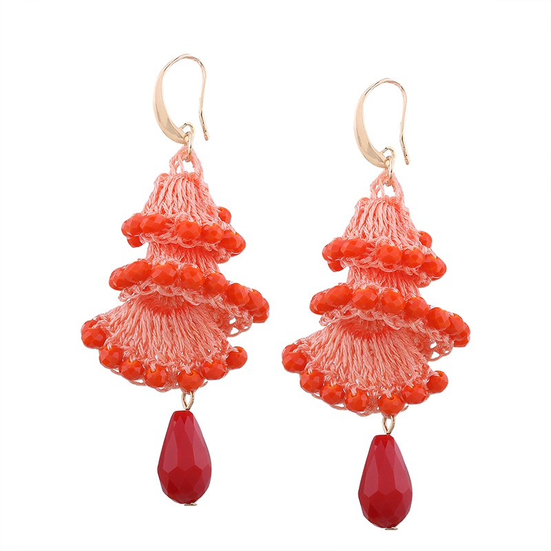 Buy Creative Handmade Crystal Spiral Beads Water Drop Shape Earrings
