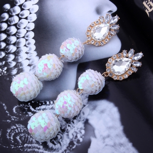 Sequin Ball Shaped Glass Alloy Rhinestone Earrings -
