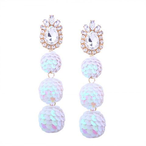 Hot Sequin Ball Shaped Glass Alloy Rhinestone Earrings