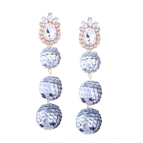 New Sequin Ball Shaped Glass Alloy Rhinestone Earrings