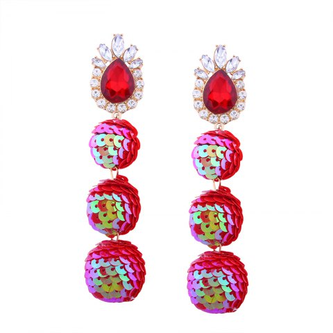 Unique Sequin Ball Shaped Glass Alloy Rhinestone Earrings