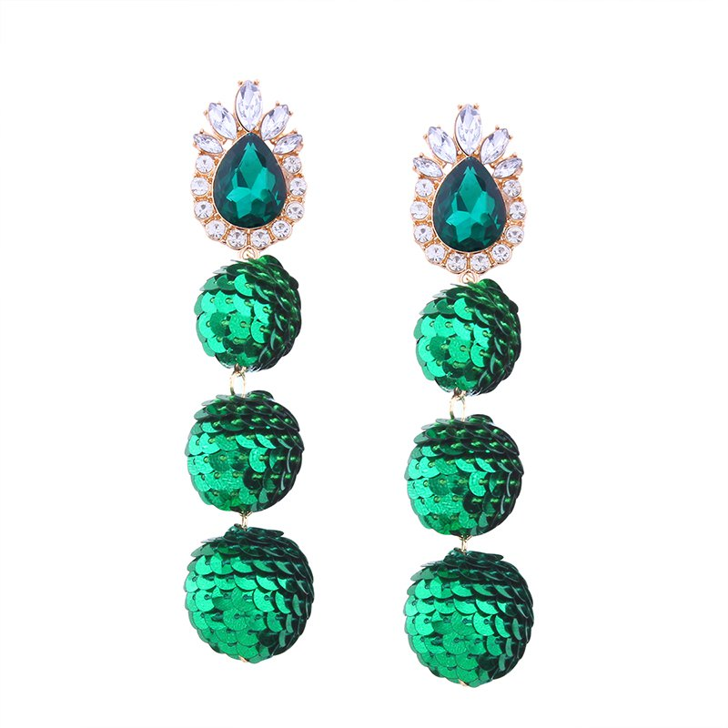 Online Sequin Ball Shaped Glass Alloy Rhinestone Earrings