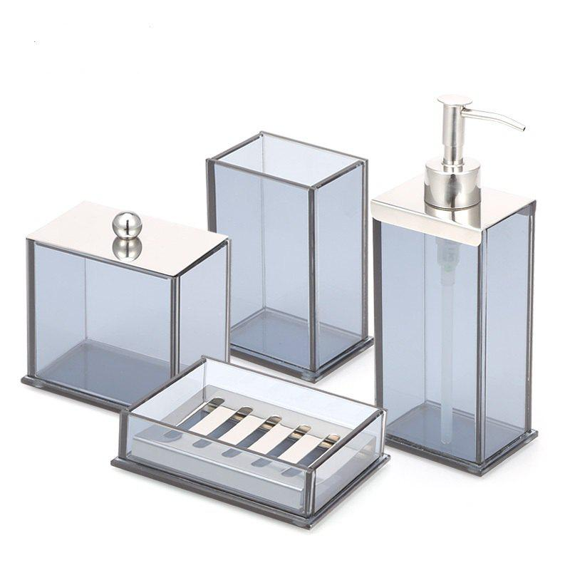 Trendy Bathroom Accessories Set Soap Lotion Toothbrush Cotton Box 4 pcs