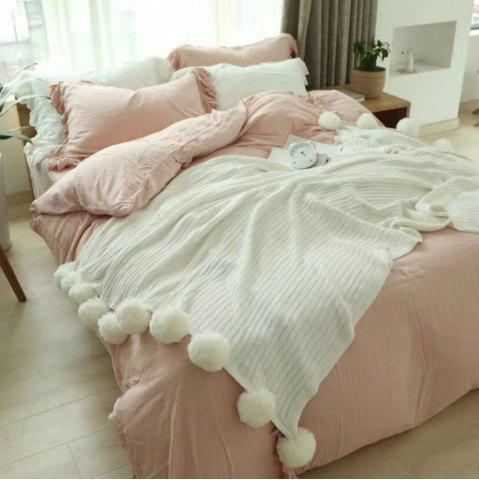 Store The New Pure Cotton Ball Decorative Knitted Net Red Blanket