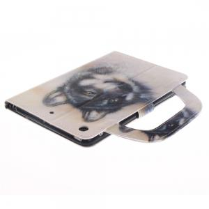 Leather Protective Case White Wolf Pattern with A Hand for iPad Mini 1 / 2 / 3 -