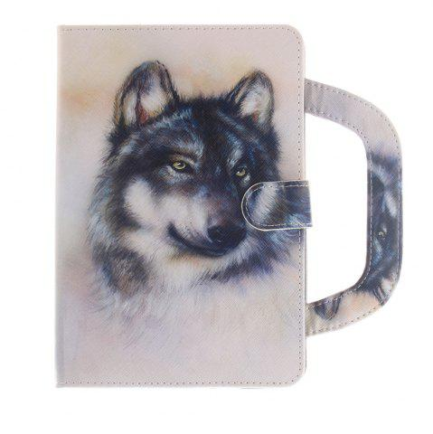 Hot Leather Protective Case White Wolf Pattern with A Hand for iPad Mini 1 / 2 / 3