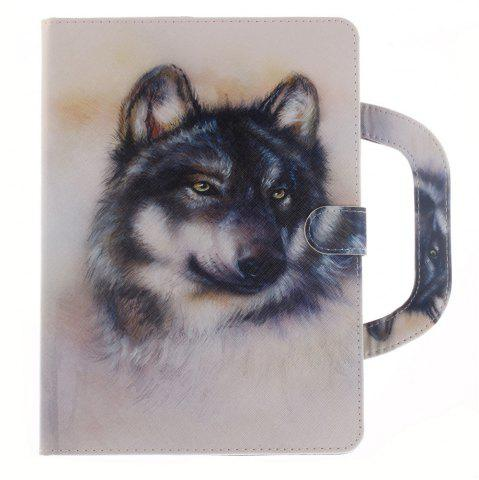 Trendy Leather Protective Case White Wolf with A Hand for iPad Mini 4
