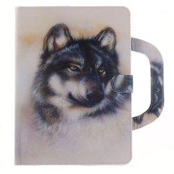 Leather Protective Case White Wolf with A Hand for iPad Mini 4 -