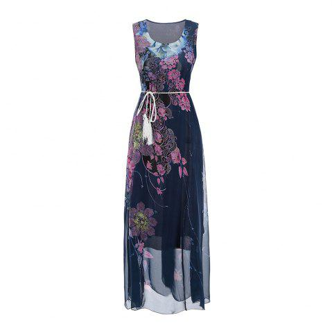 Fancy Sleeveless Dress Chiffon Printing Women'S Dress with belt