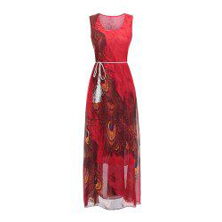Sleeveless Dress Chiffon Printing Women'S Dress with belt -