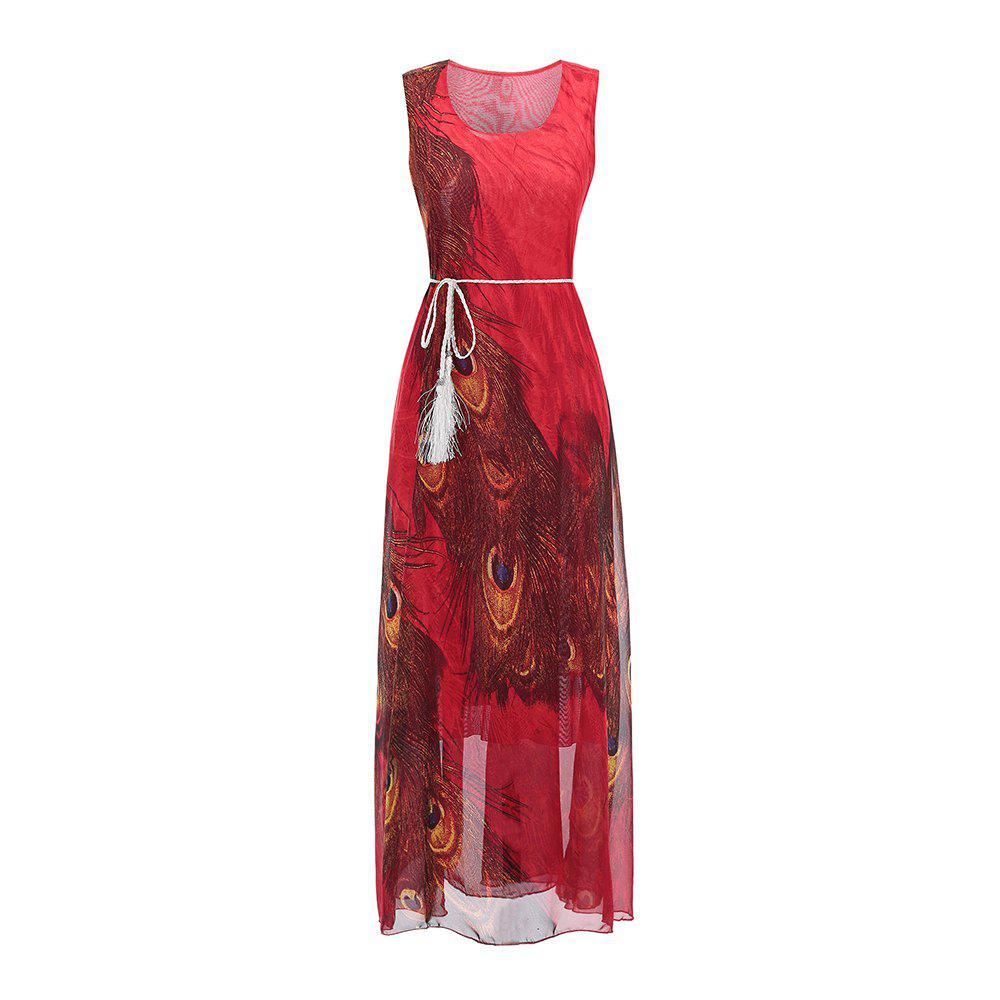 Best Sleeveless Dress Chiffon Printing Women'S Dress with belt