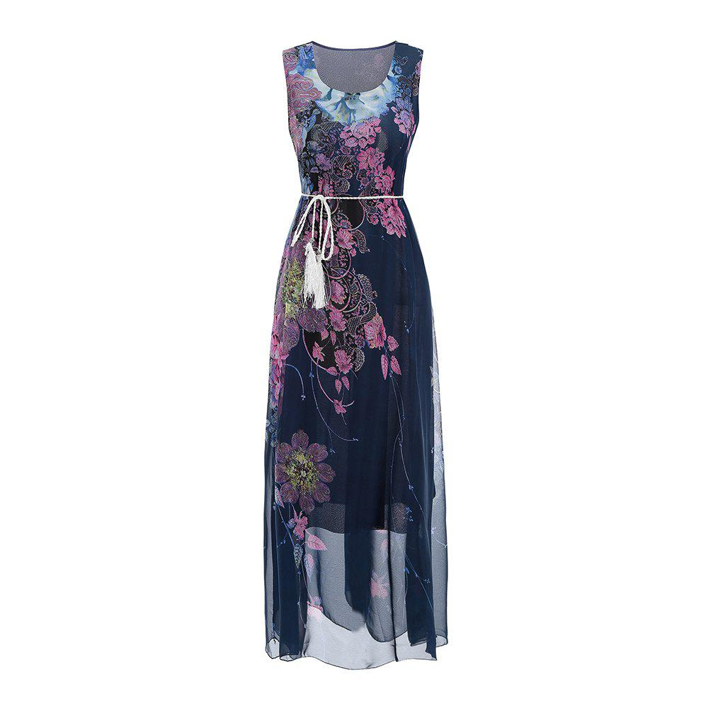 Chic Sleeveless Dress Chiffon Printing Women'S Dress with belt