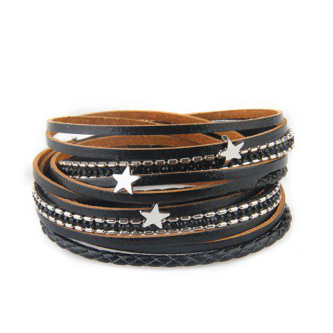 Hot Fashionable and Hot Selling Personality Pentagram Multi-Layer Leather Bracelet