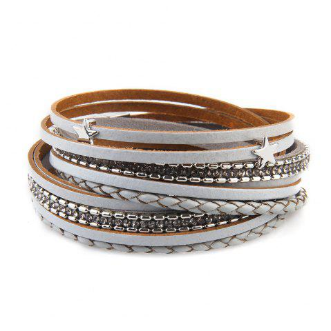 Trendy Fashionable and Hot Selling Personality Pentagram Multi-Layer Leather Bracelet