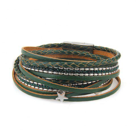 Fancy Fashionable and Hot Selling Personality Pentagram Multi-Layer Leather Bracelet