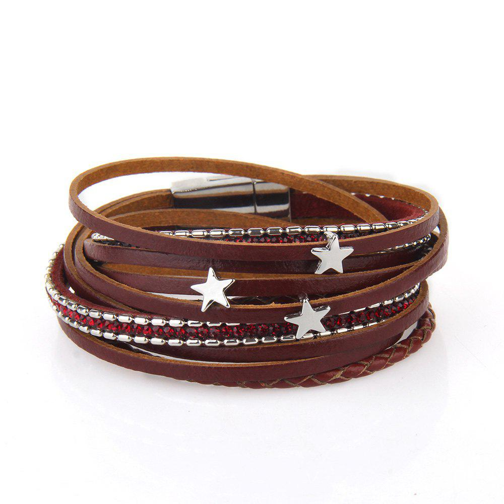 Outfit Fashionable and Hot Selling Personality Pentagram Multi-Layer Leather Bracelet