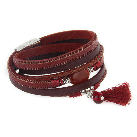 Latest Hot New Fashion All-match Summer Wind Personality Multilayer Fringed Leather Bracelet