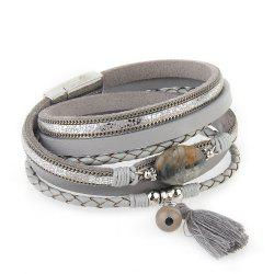 Hot New Fashion All-match Summer Wind Personality Multilayer Fringed Leather Bracelet -
