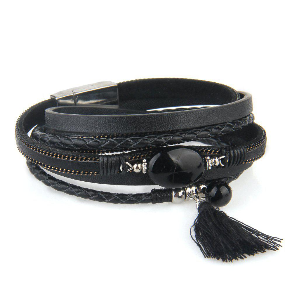 Trendy Hot New Fashion All-match Summer Wind Personality Multilayer Fringed Leather Bracelet
