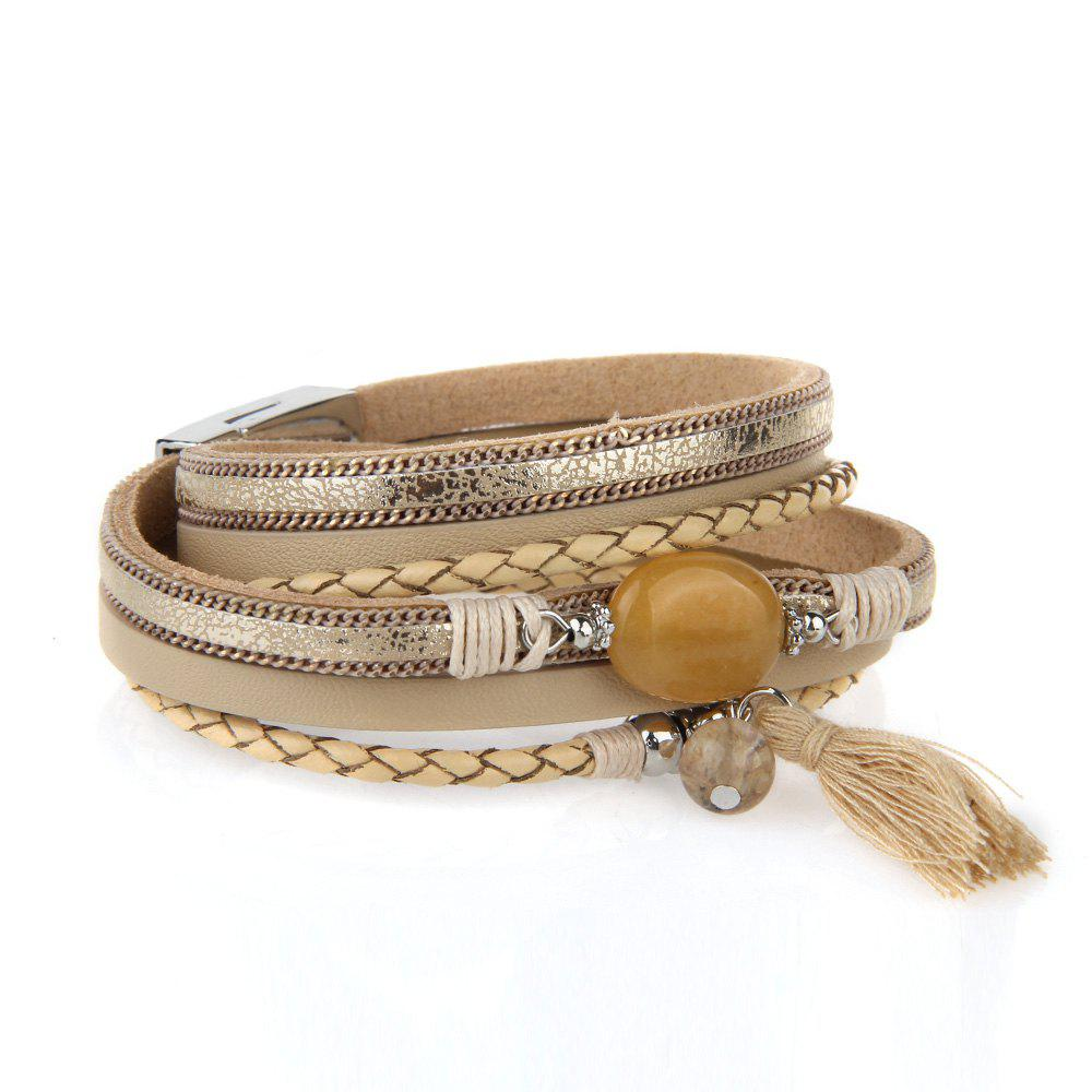 Shops Hot New Fashion All-match Summer Wind Personality Multilayer Fringed Leather Bracelet