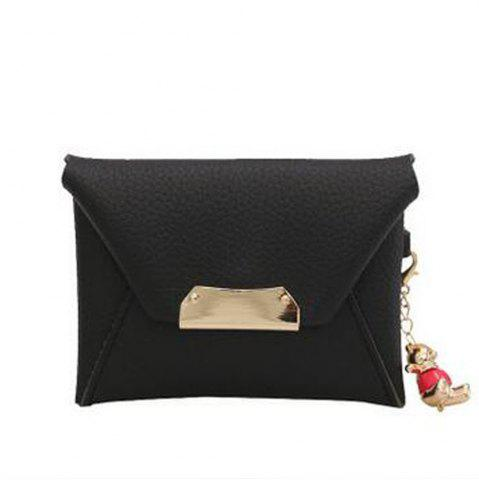 Discount Women's Clutch Solid All Match Bear Pendant Square Cover Casual Bag